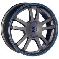 Sparco Rally 7.5x17 5x114.3 ET45 D73.1 Matt Silver Tech Blue Lip